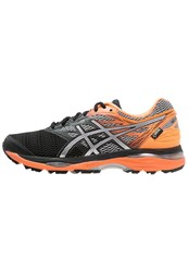 Asics Gelcumulus 18 Gtx Cushioned Running Shoes Black Silver Hot Orange