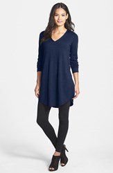 Women's Eileen Fisher Lightweight Merino Jersey V Neck Tunic Blue Bonnet
