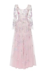 Luisa Beccaria Tulle Embroidered Gown White