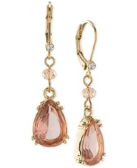 Carolee Gold Tone Pink Stone Drop Earrings