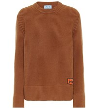 Prada Ribbed Cashmere And Wool Sweater Brown
