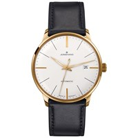 Junghans 027 7312.00 Men's Meister Classics Self Winding Stainless Steel Leather Strap Watch Black White