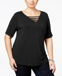 Inc International Concepts Plus Size Cutout V Neck T Shirt Only At Macy's Deep Black
