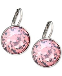 Swarovski Silver Tone Pink Crystal Drop Earrings