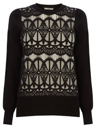 Oasis Gothic Lace Top Black White