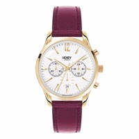 Henry London Ladies 39Mm Holborn Chronograph Leather Watch Red Gold
