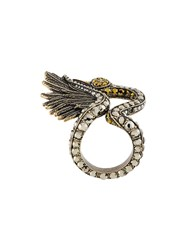 Lanvin Crystal Ring Pewter Glass Metallic
