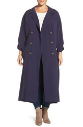 Melissa Mccarthy Seven7 Plus Size Women's Double Breasted Coat Dress Evening Blue
