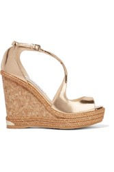 Jimmy Choo Dakota Metallic Leather Wedge Sandals Gold