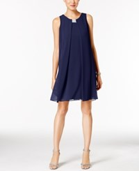 Msk Rhinestone Chiffon Flyaway Dress Navy