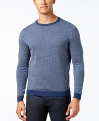 Hugo Boss Green Men's Ricco Geometric Sweater Blue Melange
