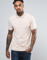 Asos Muscle Polo Shirt In Pink Vintage Lace