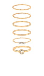 Ettika Ring Set Of 6 In Metallic Gold. Clear And Gold