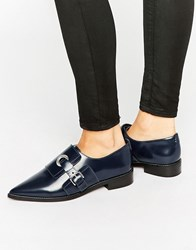 Asos Madame Leather Flat Shoes Navy