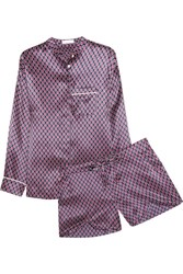 Olivia Von Halle Vita Zayna Printed Silk Satin Pajama Set Grape