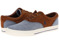 Polo Ralph Lauren Vaughn Saddle Blue New Snuff Chambray Sport Suede Men's Lace Up Casual Shoes Gray