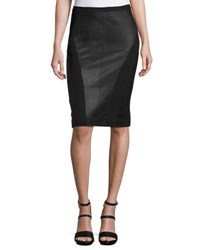 My Tribe Leather Paneled Pencil Skirt Black