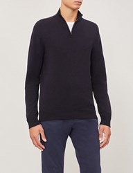 Gieves And Hawkes Turtleneck Half Zip Wool Jumper Navy