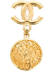 Chanel Vintage Coin Charm Brooch Metallic