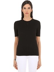 Courreges Logo Ribbed Cotton Knit Top Black