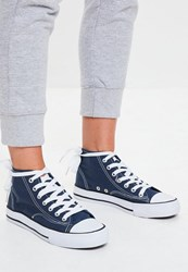Missguided Navy High Top Canvas Trainers Blue
