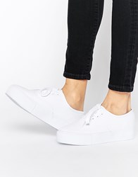 Park Lane Flatform Sneakers All White Canvas