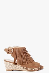 Boohoo Fringe Mule Demi Wedge Tan