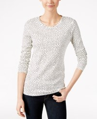 Charter Club Dot Print Long Sleeve Top Only At Macy's Cloud Combo