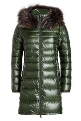 Duvetica Down Coat With Fur Trimmed Hood Green