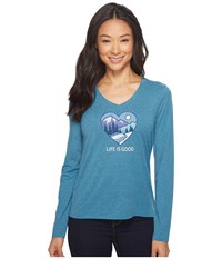Life Is Good Winter Heart Scene Long Sleeve Cool Vee Sea Blue Women's Long Sleeve Pullover