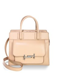 Tod's Zippered Leather Satchel Pale Pink