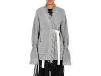 Sacai Women's Fringe Wrap Cardigan Light Grey