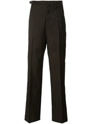 Maison Martin Margiela Pinstripe Tailored Trousers Brown
