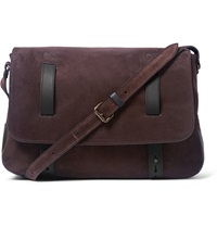 Tomas Maier Leather Trimmed Suede Shoulder Bag Brown
