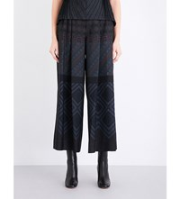 Issey Miyake Herbal Bottom Wide Leg Twill Trousers Blue Hued