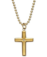 Macy's Yellow Ion Plated Stainless Steel Necklace Diamond Accent Cross Pendant