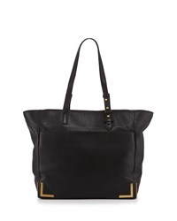 Linda Framed Leather Tote Bag Black Badgley Mischka