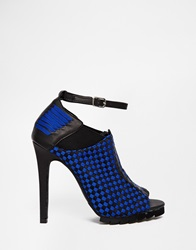 Y R U Yru Sensai Peep Toe Heeled Shoes Blu