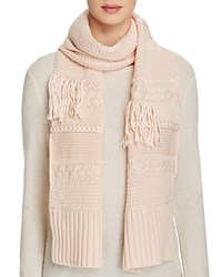 Ugg Cable Knit Fringe Scarf Freshwater Pearl