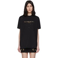 Givenchy Black Distressed Logo T Shirt