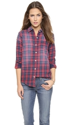 Joe's Jeans Mischa Double Woven Plaid Shirt Faded Red