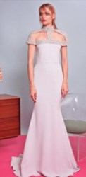 Christian Siriano Crystal Cage Collar Gown Light Blue
