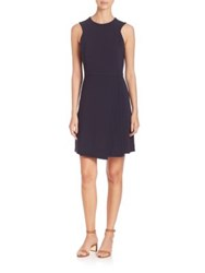 Tory Burch Fit And Flare Pleated Dress Medium Navy
