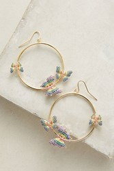 Anthropologie Butterfly Hoop Earrings Gold