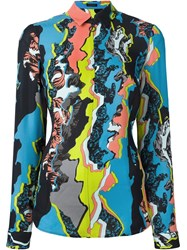 Versace 'Jagged Baroque' Zipped Shirt Multicolour
