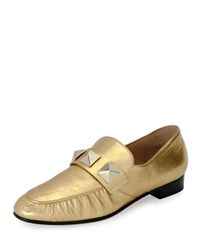 Valentino Rockstud Metallic Leather Loafer Gold