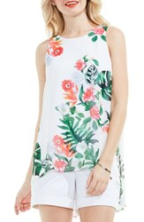 Vince Camuto Women's Havana Tropical High Low Blouse Ultra White