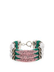 Isabel Marant Ska Beaded Bracelet Green Multi