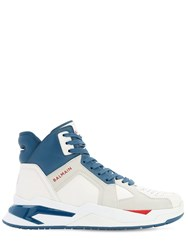 Balmain Leather High Top B Ball Sneakers White