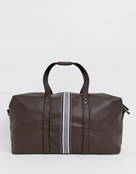New Look Holdall With Stripe Detail In Brown Multi